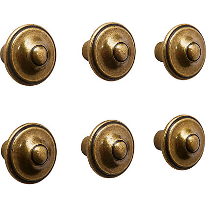 Image for Fleur de Lis Knob Antique Brass 30mm - Pack of 6 from StoreName