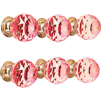 Image for Faceted Pink Glass Chrome Base 30mm - Pack of 6 from StoreName