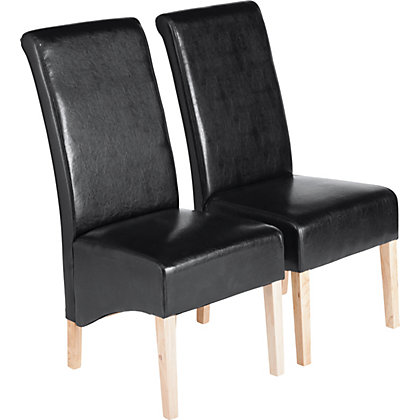 Image for Schreiber Woburn Pair of Skirted Dining Chairs - Black from StoreName
