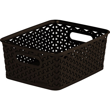 Image for Curver My Style Dark Brown Nestable Rattan Basket - Small from StoreName