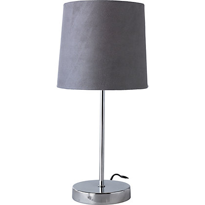 Image for Touch Faux Suede Table Lamp - Charcoal from StoreName