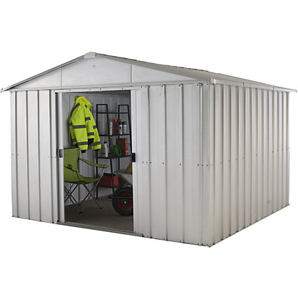 Yardmaster apex roof metal shed 10x10ft at homebase for Garden shed homebase