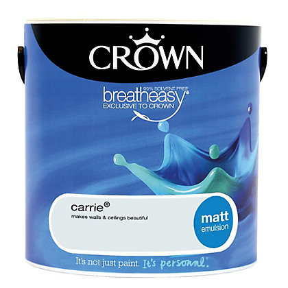 Image for Crown Breatheasy Carrie - Matt Standard Emulsion Paint - 2.5L from StoreName