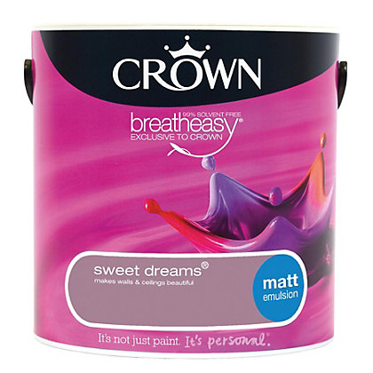 Image for Crown Breatheasy Sweet Dreams - Matt Standard Emulsion Paint  - 2.5L from StoreName