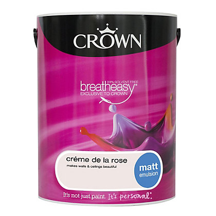 Image for Crown Breatheasy Creme de la Rose - Matt Standard Emulsion Paint  - 5L from StoreName