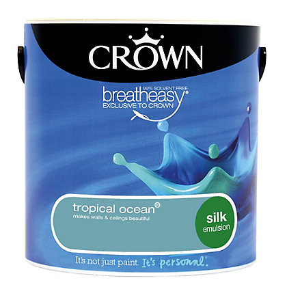 Image for Crown Breatheasy Tropical Ocean - Silk Standard Emulsion Paint - 2.5L from StoreName
