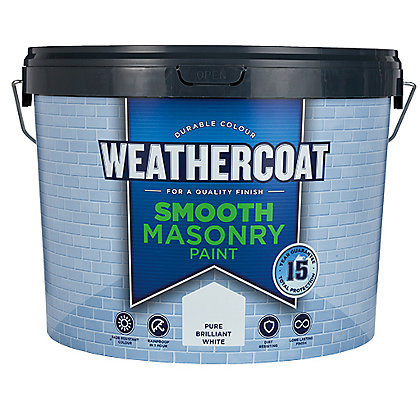 Image for Homebase Weathercoat Pure Brilliant White - Smooth Matt Masonry Paint - 10L from StoreName