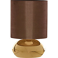 Saalbach Touch Table Lamp - Metallic effect/Chocolate Shade