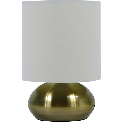 Image for Saalbach Touch Table Lamp - Antique Brass effect/White Shade from StoreName