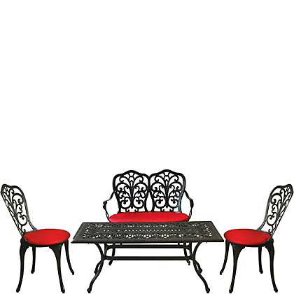 Image for Charles Bentley Cast Aluminium 4 Seater Garden Lounge Set - Black with Red Cushions from StoreName