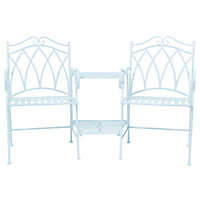 Charles Bentley  Ornate Wrought Iron Garden Companion Seat - Blue