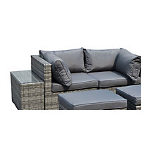 Charles Bentley 2 Seater Rattan Garden Lounge Set with Love Seat, Footstools & Table - Grey