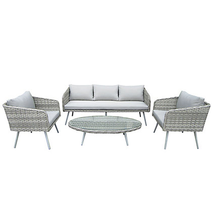 Image for Charles Bentley Premium Rattan Garden Furniture Set - Light Grey from StoreName