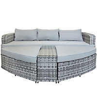 Charles Bentley Milano Rattan Garden Sofa with 2 Large Footstools & Table - Light Grey