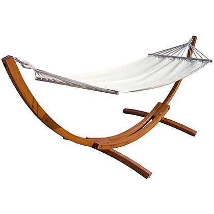 Image for Charles Bentley Wooden Garden Hammock With Cream Canvas from StoreName