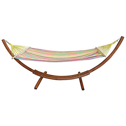 Image for Charles Bentley Wooden Garden Hammock With Stripe Canvas from StoreName