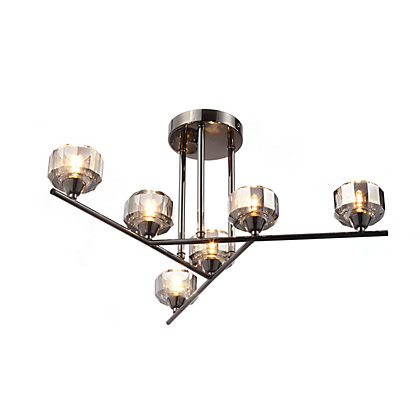 Image for Cleo Smoked 6 Flush Ceiling Light from StoreName