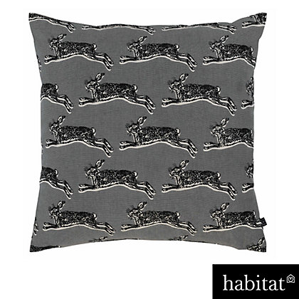 Image for Habitat - Hop 45 x 45cm Hare Patterned Cushion Grey from StoreName