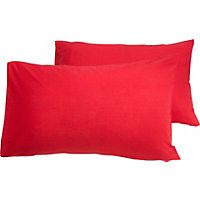 ColourMatch Poppy Red Housewife Pillowcase - 2 Pack.