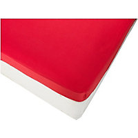 ColourMatch Poppy Red Fitted Sheet - Double.