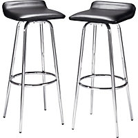 Pair of Black and Chrome Swivel Head Bar Stools.