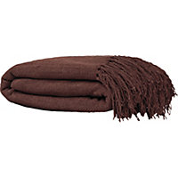 Diamond Large Cotton Throw - 249x198cm - Chocolate.