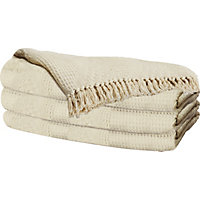 Diamond Cotton Throw - 200x150cm - Natural.