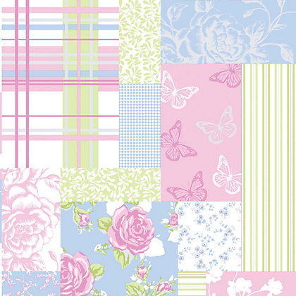 Image for Coloroll Pollyanna Wallpaper - Sky Blue and Pink from StoreName