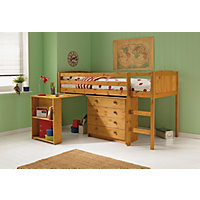Kelsey Mid Sleeper Bed Frame with Desk Antique Pine