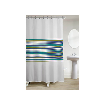 Image for Banded Stripe Shower Curtain - Teal from StoreName