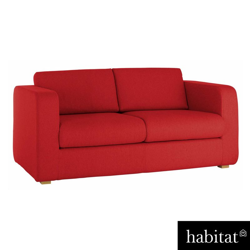 habitat porto red fabric 3 seat sofa. Black Bedroom Furniture Sets. Home Design Ideas