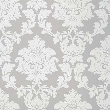 Homebase feature wall regency damask wallpaper silver for Wallpaper homebase