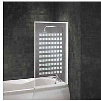 Aqualux Fully Framed Bathscreen - White Square Pattern