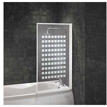 Image for Aqualux Fully Framed Bathscreen - White Square Pattern from StoreName
