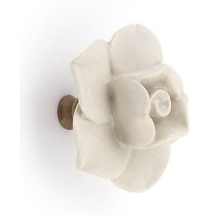 Image for Ceramic Flower Door Knob - White from StoreName