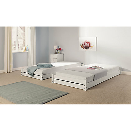 Image for Stakka Single Guest Bed - White Pine. from StoreName