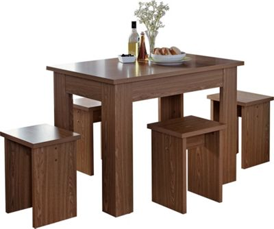 Homebase legia walnut space saver dining table and 4 for Top rated dining tables