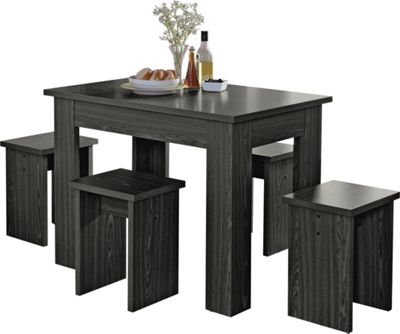 Homebase legia black space saver dining table and 4 for Top rated dining tables