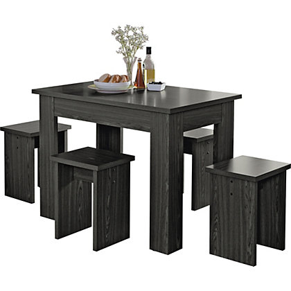 legia black space saver dining table and 4 stools
