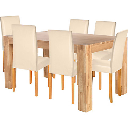 Marlow Dining Table And 6 Midback Cream Chairs