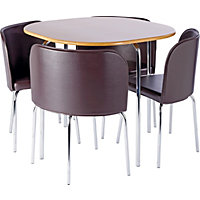 Hygena Amparo Oak Finish Dining Table and 4 Chocolate Chairs