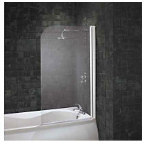Aqualux Radius Bath Screen - White & Clear