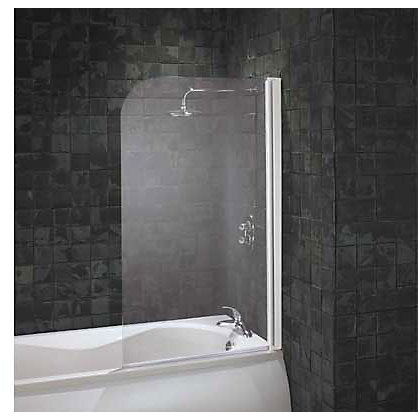 Image for Aqualux Radius Bath Screen - White & Clear from StoreName