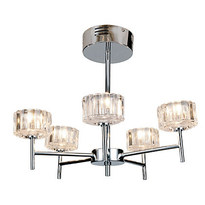 Image for Madaline 5 Arm Chrome Ceiling Light from StoreName