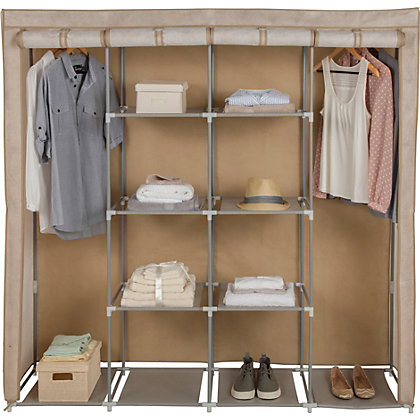 Polycotton and wood triple wardrobe ch at homebase be for Homebase design your own bedroom