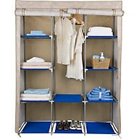 Double Modular Metal Framed Fabric Wardrobe - Jute Effect.