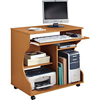 Curved Computer Desk Trolley - Pine Effe