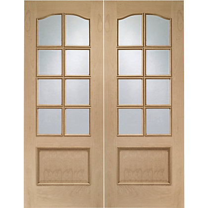 Image for 8 Lite Glazed Oak Double Doors - 1168mm Wide from StoreName