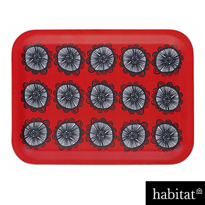 Image for Habitat - Freda Floral-Patterned Rectangular Tray - Red from StoreName
