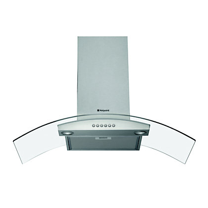Image for Hotpoint HDA95AS Curved Glass Chimney Hood - 90cm from StoreName